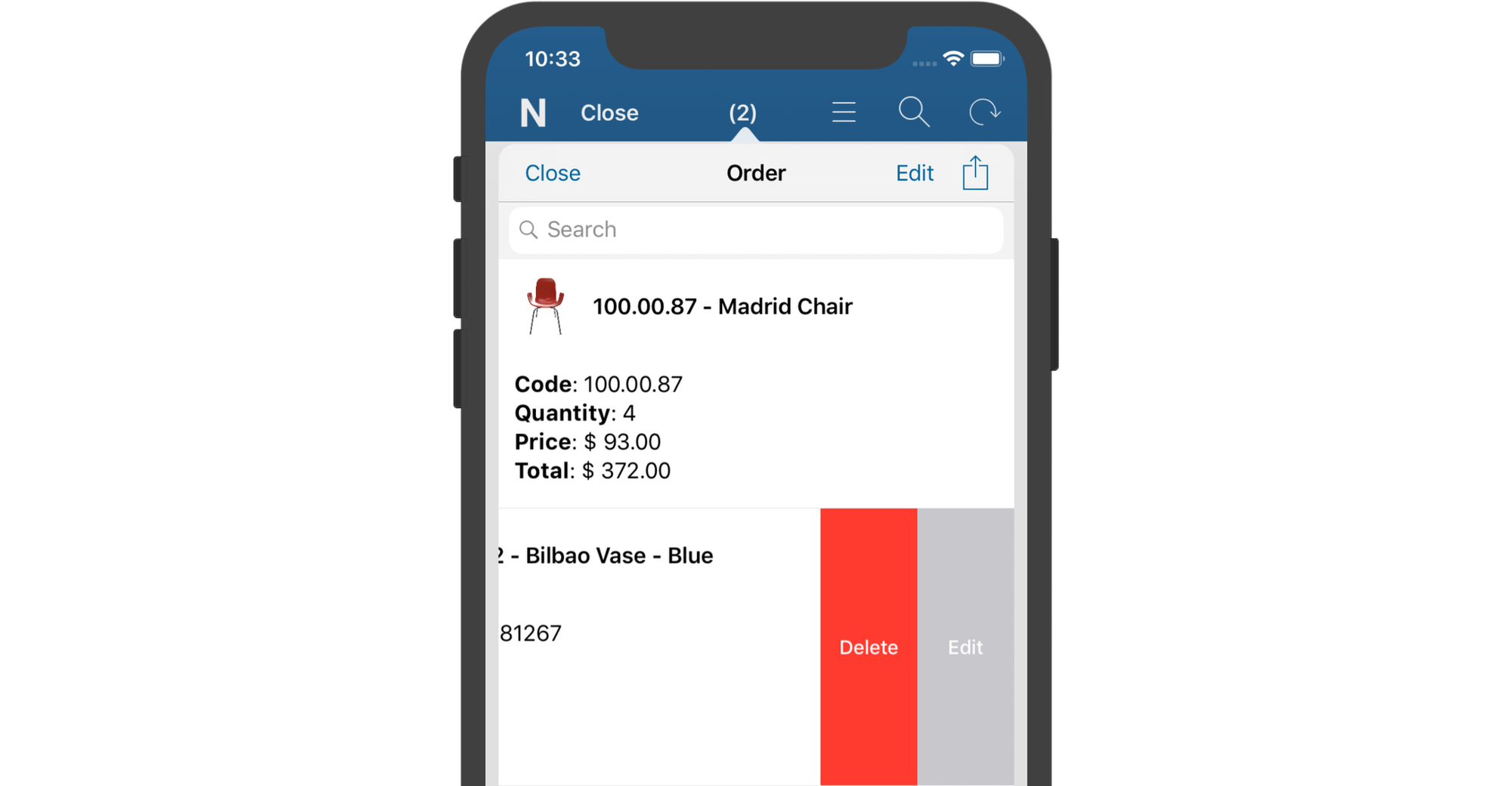 Quick Product Actions in Orders or Favorites
